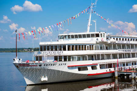 uglich russia: UGLICH, RUSSIA - JULY 03, 2016: Cruise ship Viking Akun is at the pier of Uglich. Uglich is a historic town in Yaroslavl Oblast, Russia, which stands on the Volga River.