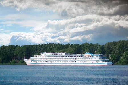 the volga river: YAROSLAVL, RUSSIA - JUNE 24, 2016: Cruise ship Ilya Repin is sailing on Volga River.
