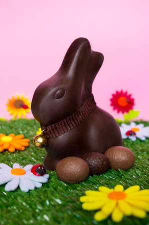 easter flowers: An Easter background with an Easter chocolate bunny, some easter eggs, flowers, grass. Stock Photo