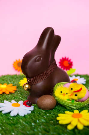 brown egg: An Easter background with an Easter chocolate bunny, an easter egg, flowers, grass.