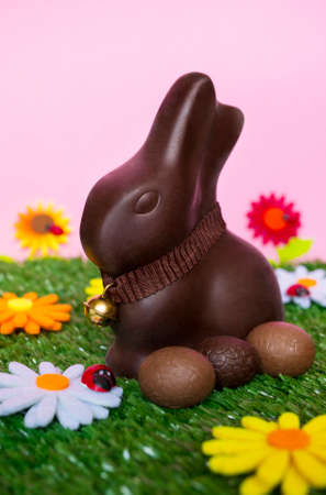 brown egg: An Easter background with an Easter chocolate bunny,