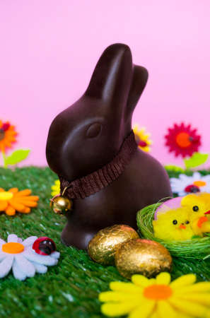 brown hare: An Easter background with an Easter chocolate bunny, some easter eggs, flowers, grass. Stock Photo