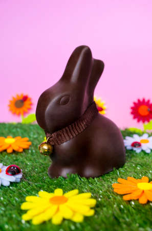 An Easter background with an Easter chocolate bunny, flowers, grass.