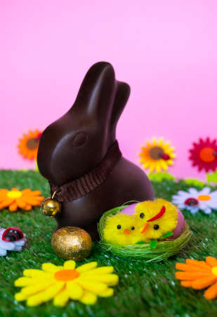 An Easter background with an Easter chocolate bunny, an easter egg, flowers, grass.