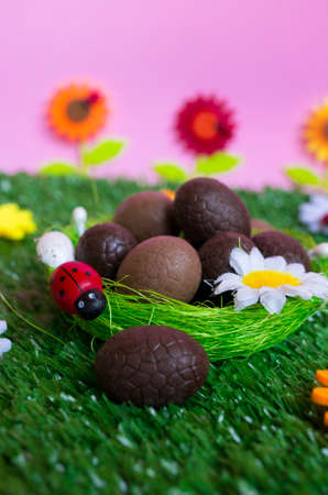 chain food: An Easter background with some chocolate easter eggs, flowers, grass.