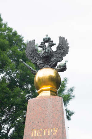 double headed: PERESLAVL-ZALESSKY, RUSSIA - JULY 02, 2016: Imperial double-headed eagle monument to Peter the Great in Pereslavl-Zalessky, a town in Yaroslavl Oblast, Russia.