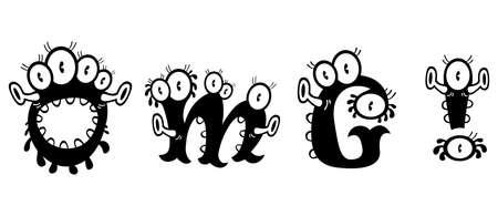 voile: Cartoon monster text OMG