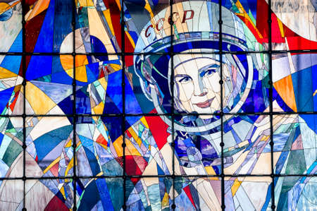 valentina: YAROSLAVL, RUSSIA - JUNE 29, 2016: A stained-glass window with a portrait of Valentina Tereshkova in The New Cultural and Educational Center with Planetarium in Yaroslavl.
