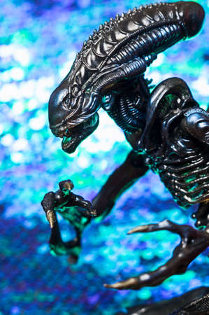 MAGNITOGORSK, RUSSIA - 06 SEPTEMBER 2016: An alien creature from the movies and computer games series Alien. The character Alien was created by HR Giger.