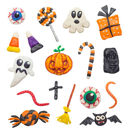 polymer: A big set of colorful clay handmade elements for Halloween.