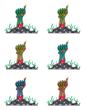 Colorful clay zombie hands.