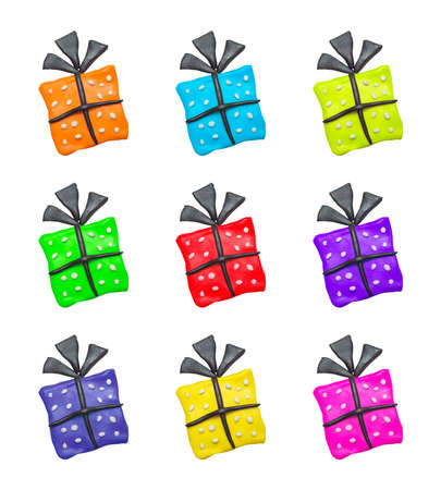 polymer: A set of colorful cartoon clay gift boxes for Halloween
