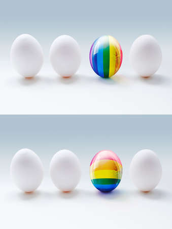 specter: Two illustrations of white eggs and glassy LGBT eggs on the grey background. Concept illustrations, which show the difference, uniqueness and tolerance.