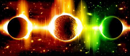 atmosfera: Un fondo retro del espacio exterior con los planetas, el cielo y las estrellas. En capas.