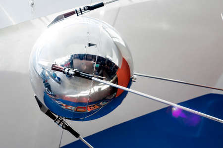 artificial satellite: YAROSLAVL, RUSSIA - JUNE 29, 2016: A model of the satellite Sputnik in The New Cultural and Educational Center with Planetarium in Yaroslavl. Sputnik 1 was the first artificial Earth satellite.