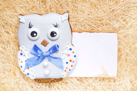 A straw background with a handmade honey-cake owl and a place for your text for a baby party party, a birthday party or other events.