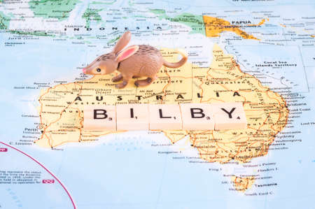 MAGNITOGORSK, RUSSIA - JUNE 09, 2017: A concept photo with a toy bilby and letters on the map. Editorial