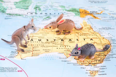 MAGNITOGORSK, RUSSIA - JUNE 09, 2017: A photo of the toy Australian animals on the map. Editorial
