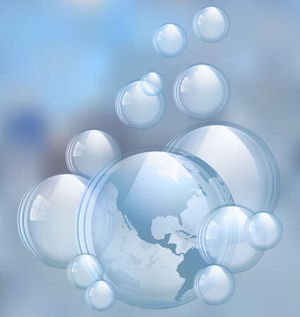 An illustration of the beautiful soap bubbles with a map.