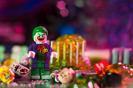 MAGNITOGORSK, RUSSIA - April 10, 2018: Figurine of the Joker, who is a fictional character appearing in comic books published by DC Comics. Illustrative editorial.