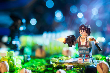 MAGNITOGORSK, RUSSIA - April, 21 2018: LEGO movie figurine, which represent a character of the movies and computer games series Alien. Illustrative editorial. Editorial