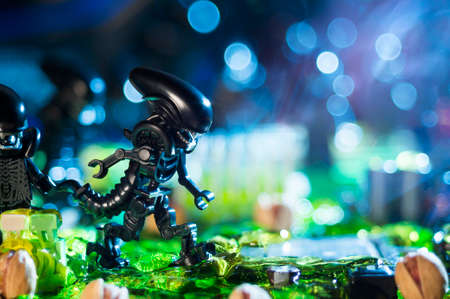 MAGNITOGORSK, RUSSIA - April, 21 2018: a group of LEGO movie figurines, which represent the characters of the movies and computer games series Alien. Illustrative editorial. Editorial