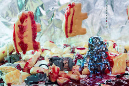 MAGNITOGORSK, RUSSIA - September, 05 2018: LEGO movie figurine, which represents a character of the movies and series Predator. Illustrative editorial. Editorial
