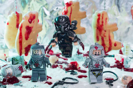 MAGNITOGORSK, RUSSIA - September, 05 2018: LEGO movie figurines, which represent characters of the movies and series Predator. Illustrative editorial.
