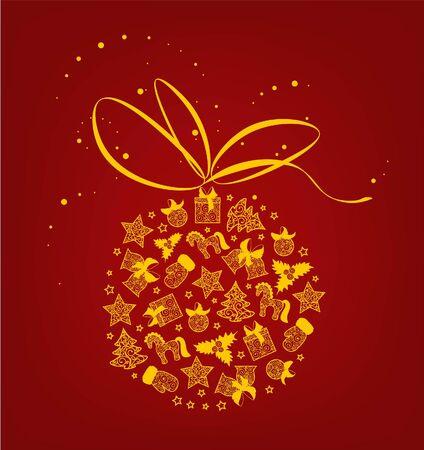 Bright silhouette of Christmas toys. Ilustração