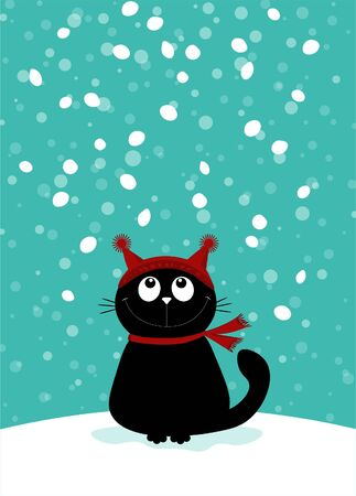 Christmas pattern with carton black cat.