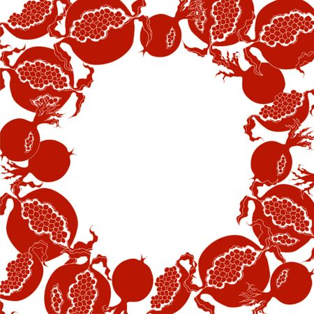 A fruity pattern with juicy ripe pomegranate.  イラスト・ベクター素材
