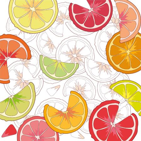 A fruity pattern with a juicy slice of grapefruit , lime , orange, lemon. Ilustrace