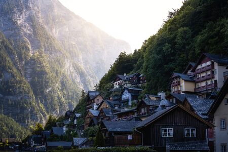 The houses of Hallstatt at sunset