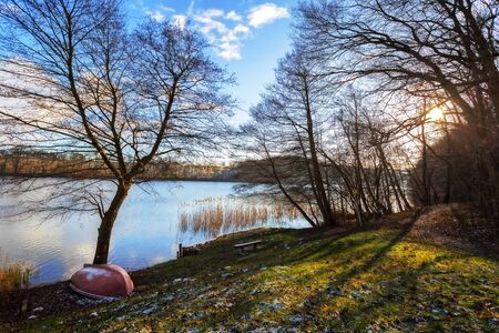 A rowing boat lies on land at the Feldberg lake district