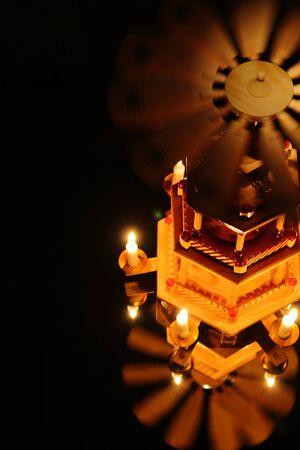 Christmas pyramid with small candles Stockfoto
