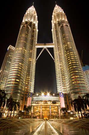 Petronas Twin Towers in Kuala Lumpur at night Editorial
