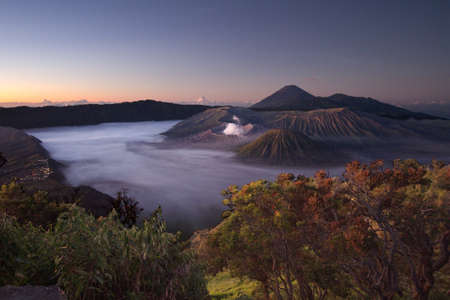 Volcano Mt  Bromo in sunrise photo