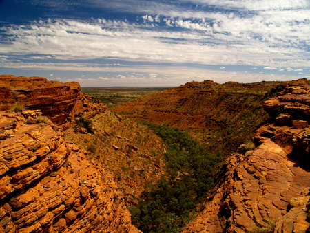 hill of the king: Australian Kings Canyon with typical red rocks and blue sky Stock Photo