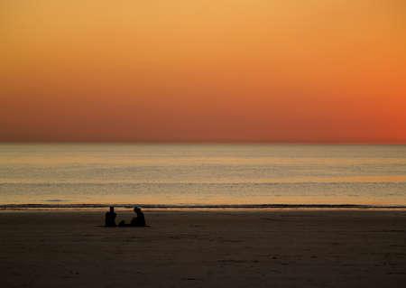 Romantic Sunset at Beach, Broome, Australia, stunning, orange yellow sky, no clouds Stock Photo - 13554266