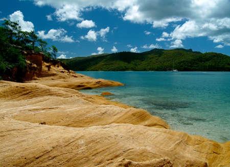 whitsundays: Whitsunday Islands, turquoise bay and rocks   Stock Photo