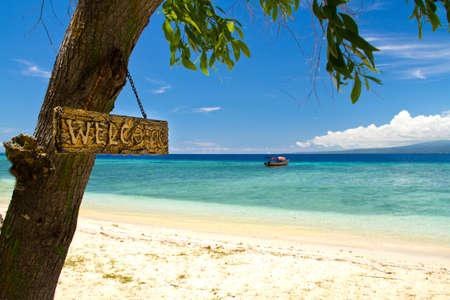 Welcome to paradise beach and sea on island, Gili Islands photo