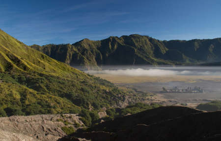 Hindu temple in valley of Mt  Bromo photo