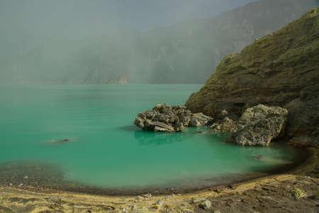 Yellow sulfur mine with blue lake inside volcano, Ijen Plateau photo