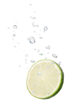 comestible: Lime in water with air bubbles Stock Photo