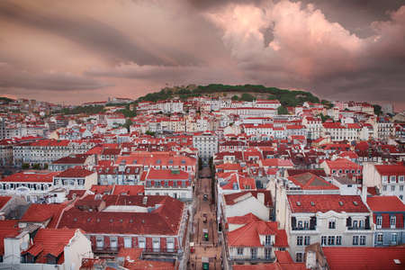 chiado: Lisbon city in sunset from above