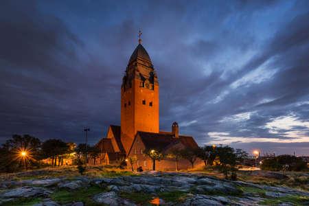 gothenburg: Church Masthugget in Gothenburg at night