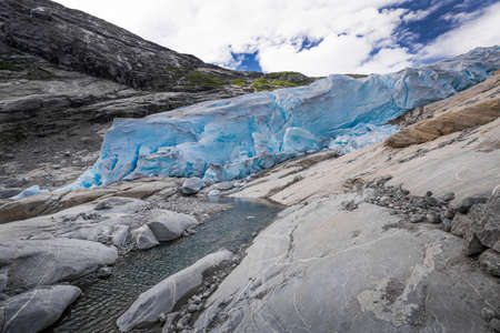jostedalsbreen: Blue glacier Nigardsbreen in Norway