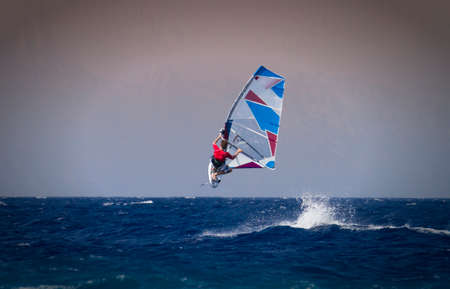 greece: Windsurfing jump in Rhodes, Greece