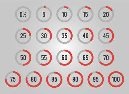 Set of circles percentage for infographics, can be used for business designs, presentation designs or any suitable designs.