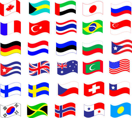 flags of the world icons Illustration